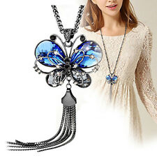 Women's Tassel Necklace Rhinestone Blue Butterfly Pendant Long Chain Dulcet