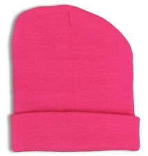 Plain Cuff Beanie Knit Ski Cap Skull Warm Solid Color Winter Blank Beany