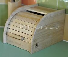 Beech Rubber wood Small Roll Up Top Wooden Bread Loaf Bin Kitchen Storage