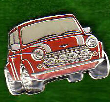 CLASSIC MINI COOPER SPORT IN RED AND WHITE ENAMELED METAL LAPEL PIN BADGE small