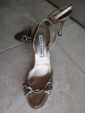 Manolo Blahnik pewter metallic strappy heels shoes sz 38.5
