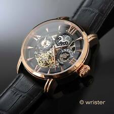 Invicta Objet D Art Automatic Skeleton Leather 18k Rose Gold IP Day Night Watch