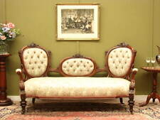 FINE ANTIQUE CARVED WALNUT 3 SEATER CHAISE SOFA COUCH ~ LOVELY CONDITION c1870s
