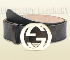 GUCCI black brown 40 GG Supreme Canvas gold INTERLOCKING G buckle belt NWT Auth