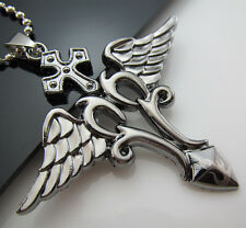 Free Gift Unisex's Stainless Steel Pendant Cross Angel Sword Necklace HOT Chain