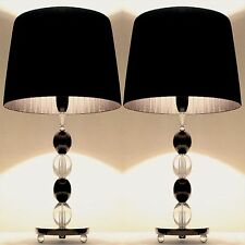 PAIR of NEW Bedside Table DESIGNER MODERN LAMPS with Black Round Shade