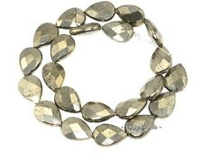 PALAZZO IRON PYRITE GEMSTONE FACETED TEARDROP 18X13MM LOOSE BEADS 7.5""