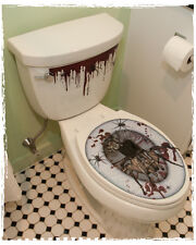 Removable Bathroom Bloody Spiders Toilet Seat Cling Sticker Halloween Decoration