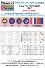 Model Maker 1/32 R.A.F. P-39 AIRACOBRA INSIGNIA Roundels Fin Flashes Paint Mask