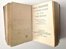 DELLA TIRANNIDE di Vittorio Alfieri - 2 tomi Nella Stamperia Filantropica 1800