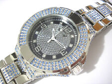 Iced Out Bling Bling Stainless Steel Techno King Men's Watch Silver Blue #2248