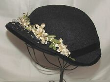 Vtg Womens Hat Dressy Church Wedding Art Deco 1920s 30s 40s Small Medium Flowers