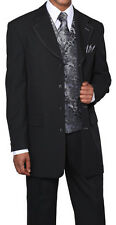 New Mens' 4 Button Fashion Suit with Vest+Tie+Hanky Black/Red, Black/Gray #6903V