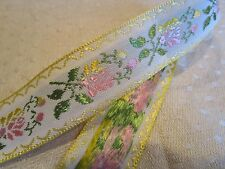 "Yellow Pink Green Embroidered Flower ribbon cotton trim 7/8"" x 8 yd pastel baby"