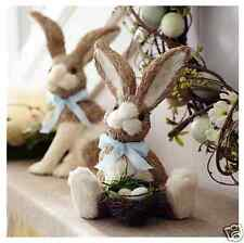 "Natural Sisal Easter Bunny Rabbit with Nest & Colorful Eggs, 10""H, Pier 1, New!"