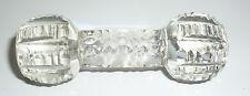 """Older Vintage Antique Cut Crystal Faceted Knife Rest Glass Dumbbell Shape 3-1/4"""""""