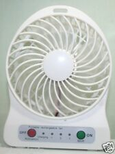 Portable Mini Rechargeable LED Light Fan With Charger Battery & USB Cable(White)