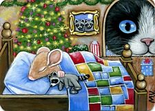 Original Raccoon Toy Mouse House Cat Kitten Christmas Tree Mischief ACEO Print