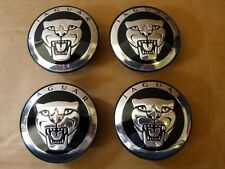 JAGUAR BLACK wheel ALLOY CENTRE CAPS SET OF 4  59mm X XJR XJ6 XF F TYPE HUB