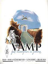 ▬► PUBLICITE ADVERTISING AD VAMP Bas sous-vêtements lingerie blouses Massé 1950