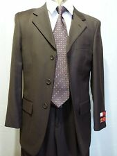Men's Three Button Suit, 100%Wool, Brown, 36S NWT