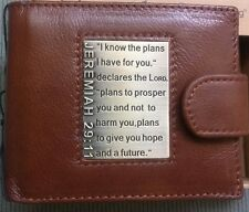 NEW MEN's Christian Bible Verse JER 29:11 GENUINE LEATHER Brown Bi-fold WALLET