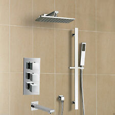 """Thermostatic Shower System Sets With 8"""" Rainfall Head Hand Sprayer and Tub Spout"""