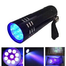 Mini Aluminum UV ULTRA VIOLET 9 LED FLASHLIGHT BLACKLIGHT Torch Light Lamp~S#