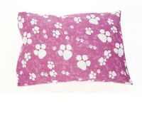 PET DOG BED CUSHION, REMOVABLE ZIPPED COVER, PINK & WHITE PAWS