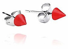 STAINLESS STEEL RED NEON SPIKE STUD EARRINGS 5mm 1 X PAIR UNISEX