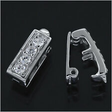 1PC Sterling Silver 2-Strand CZ Rectangle Spacer Bar Shortener Push Clasp #97239