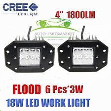 2pcs CREE 4' 18W LED WORK LIGHT FLOOD FLUSH MOUNT CUBE PODS FOG LAMP FORD JEEP