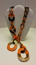 Gorgeous designer 100% Buffalo horn long link orange lacquered necklace