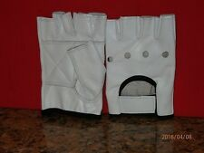 WHITE LEATHER FINGERLESS GLOVES WITH BLACK TRIM  - UNISEX - SIZE MEDIUM