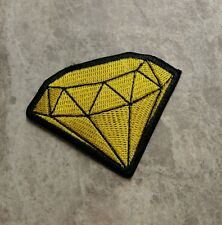 DIAMOND SPARKLY CRYSTAL RARE GEM GEMSTONE GOLD YELLOW IRON ON SEW PATCH