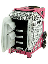 ZUCA Sport Artist Bag ZEBRA & Pink Frame w/Flashing Wheels - FREE SEAT CUSHION