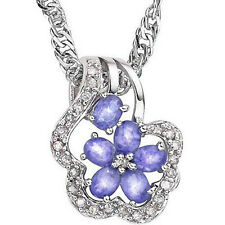GENUINE DIAMOND & GENUINE TANZANITE PLATINUM OVER 0.925 STERLING SILVER NECKLACE