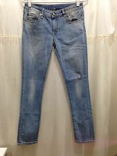 R13 Womens Blue Low Skinny Ripped Jeans Size 27 Made in Italy