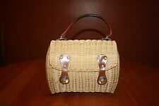 Vintage Dayne Taylor Handbag Purse Wicker Woven Vinyl British Colonial Hong Kong