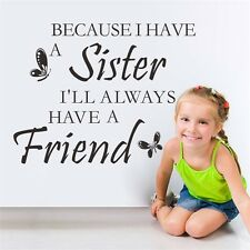 New SISTER Wall Quotes Best Friends Nursery Decal Girls BedroomTransfer Sticker