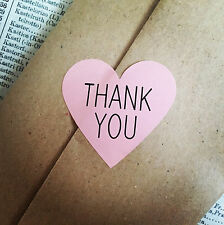 30  Pink Thank You Heart Stickers Labels Wedding Favours Wrapping Baby Shower