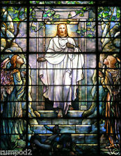 Leaded/Stained/Glass/Poster/Tiffany Like/Jesus Christ has Risen/17x22 inch