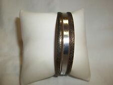 NEW LIGHT WEIGHT SILVER & GOLD TONE 3 BANGLES BRACELET - NICE