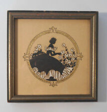 Vtg REVERSE PAINTING ON GLASS Fanciful Lady w Flowers-wall Art hanging