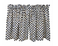 "Mackenzie Childs COURTLY CHECK CAFE Kitchen CURTAINS 72""W X 31""L  BRAND NEW $185"