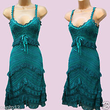 KAREN MILLEN GREEN CROCHET FLAPPER CHARLESTON 20s VINTAGE GATSBY Dress 1(6-8 UK)