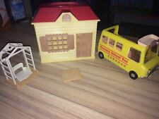 Sylvanian Families House, School Bus, Swing And Table