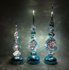 SET OF 3 VINTAGE 1980s 90s GLASS LIGHT UP CHRISMAS SPIRES AQUA TEAL 15 1/2""