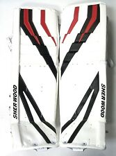 New Sherwood T95 senior goal ice hockey goalie leg pads white/black/red Sr 35+1""