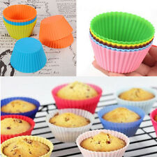 Baking 12pcs Soft Silicone Round Muffin Chocolate Cupcake Liner Cup Molds Tool